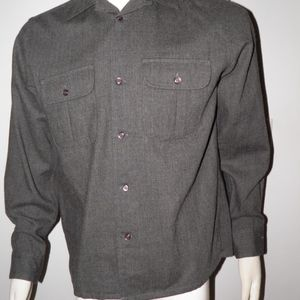 Woolrich Gray Wool Button Shirt  Leather Elbow M